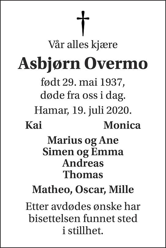 Asbjørn Overmo Dødsannonse