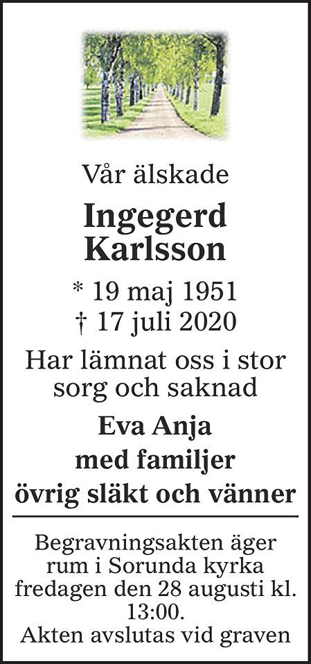Ingegerd Karlsson Death notice