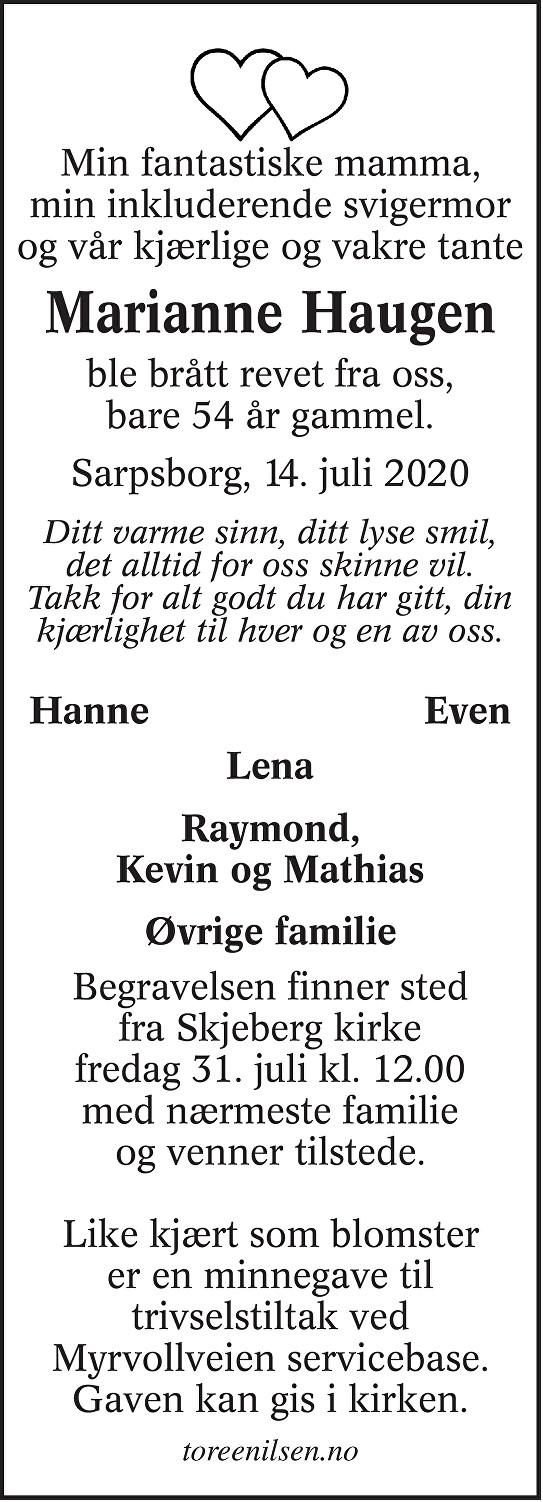 Marianne Haugen Dødsannonse