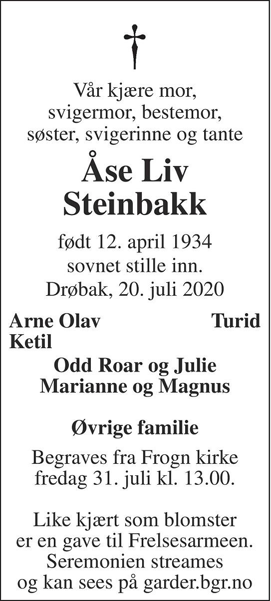 Åse Liv Steinbakk Dødsannonse