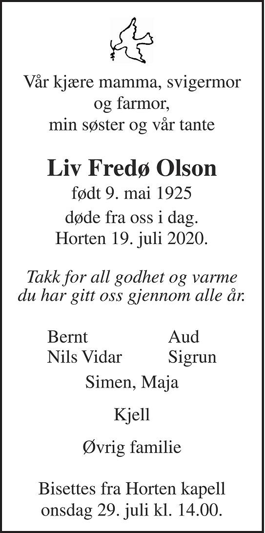 Liv Fredø Olson Dødsannonse