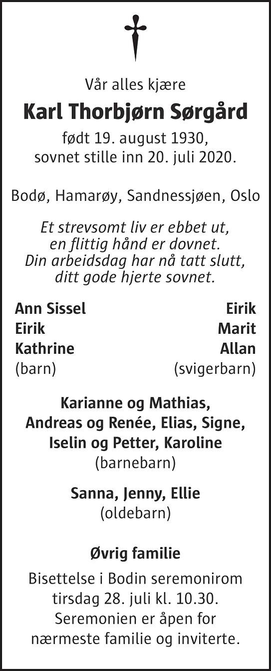 Karl Thorbjørn Sørgård Dødsannonse