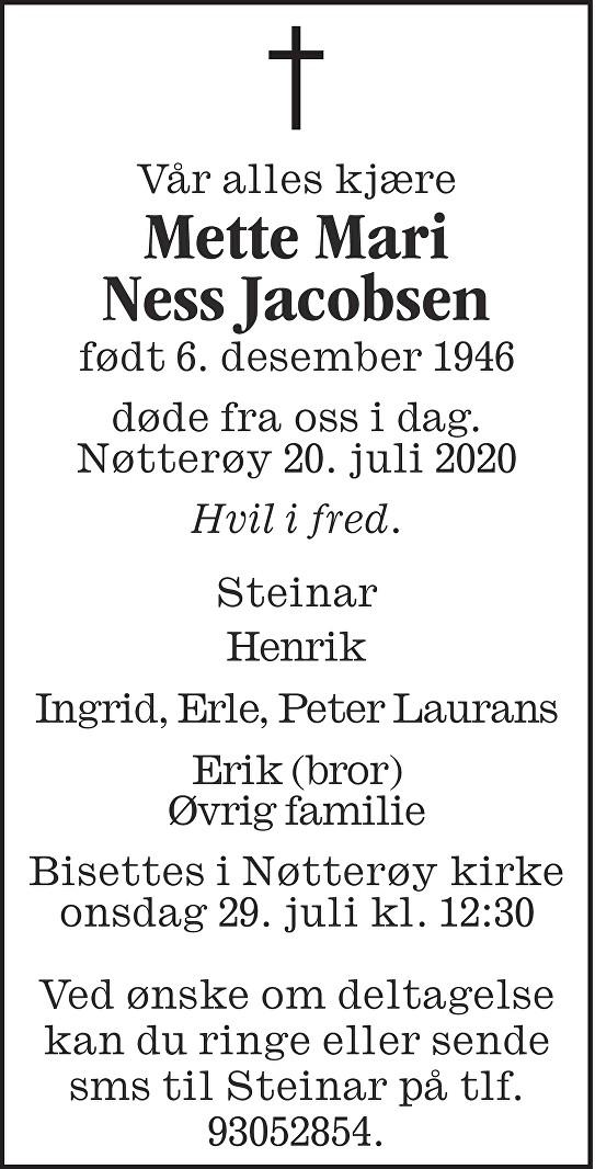Mette Mari Ness Jacobsen Dødsannonse