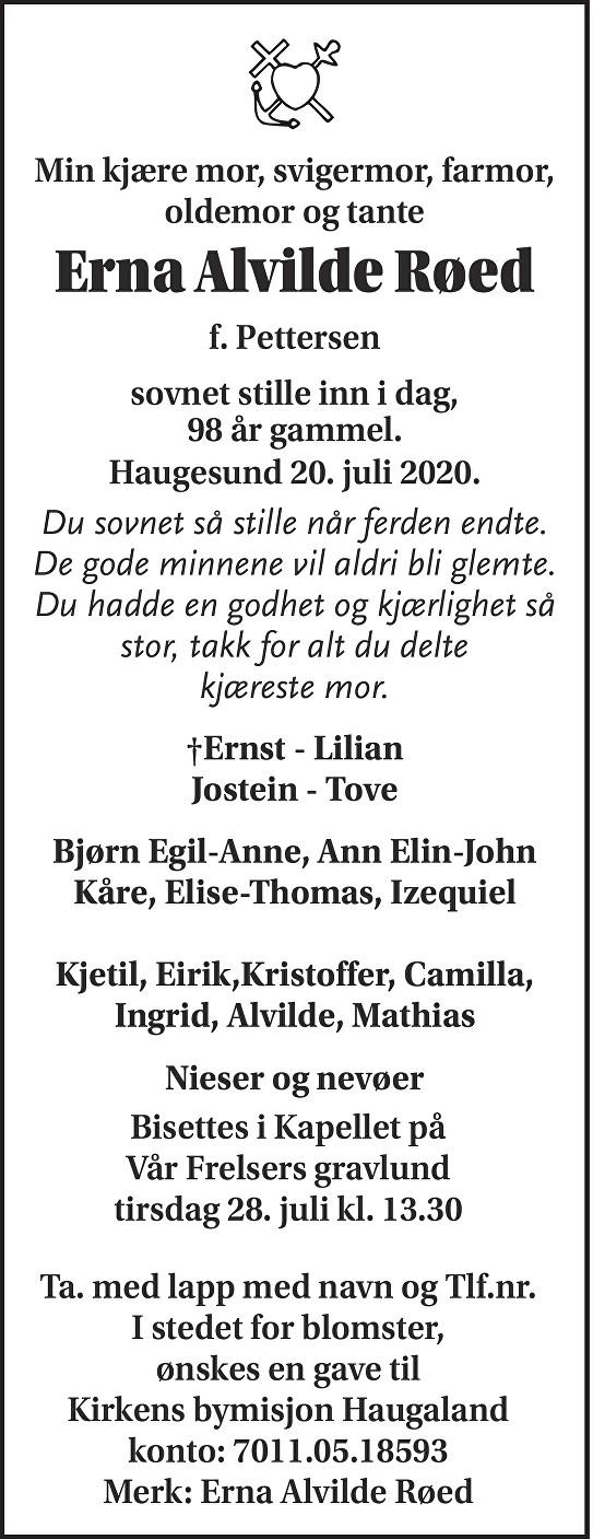 Erna Elvida Røed Dødsannonse