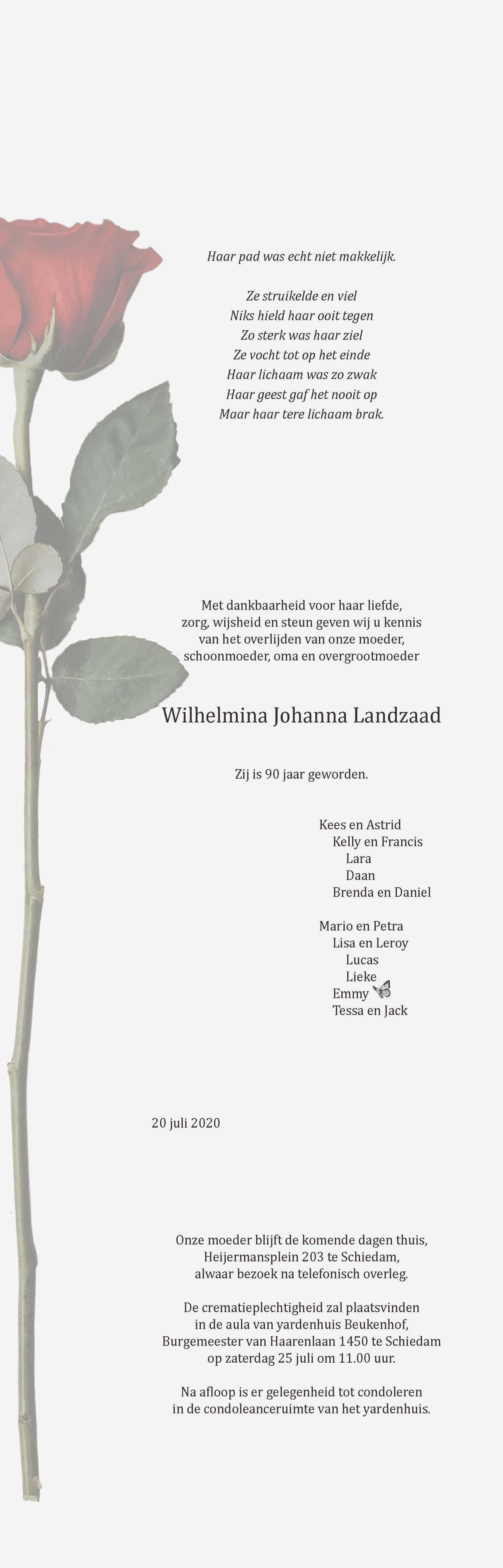 Wilhelmina Johanna Landzaad Death notice