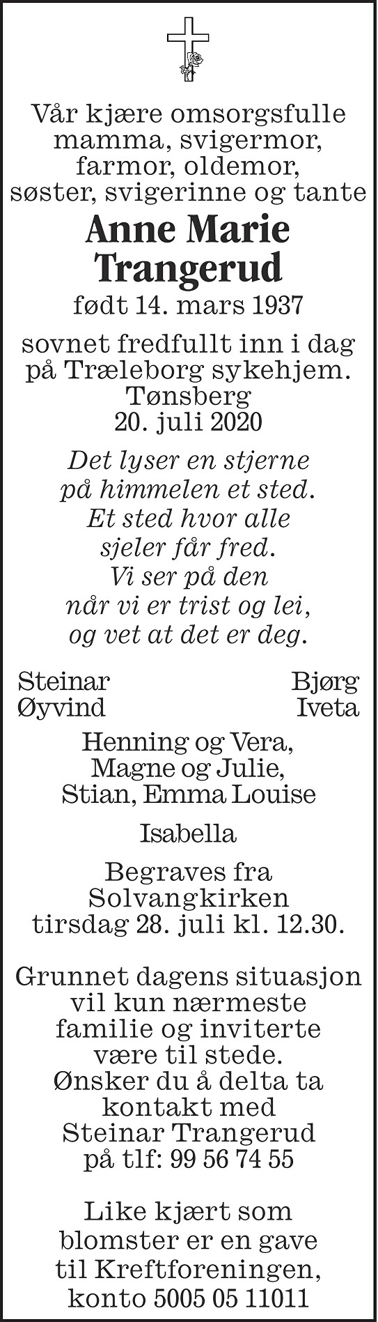 Anne Marie Trangerud Dødsannonse
