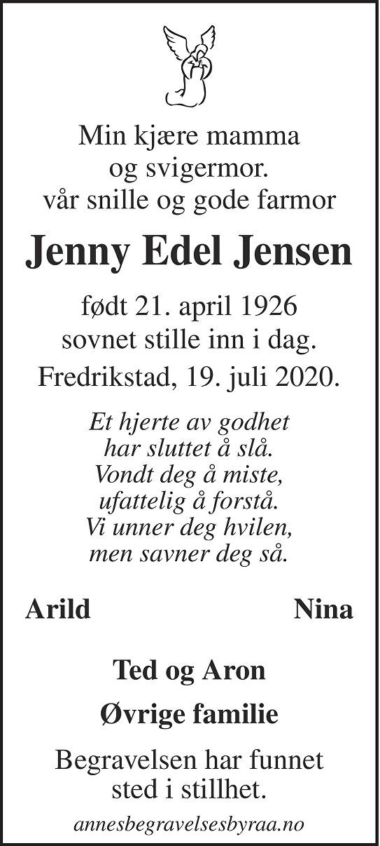 Jenny Edel Jensen Dødsannonse
