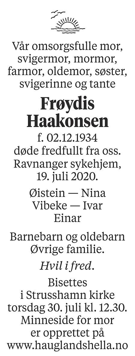 Frøydis Haakonsen Dødsannonse