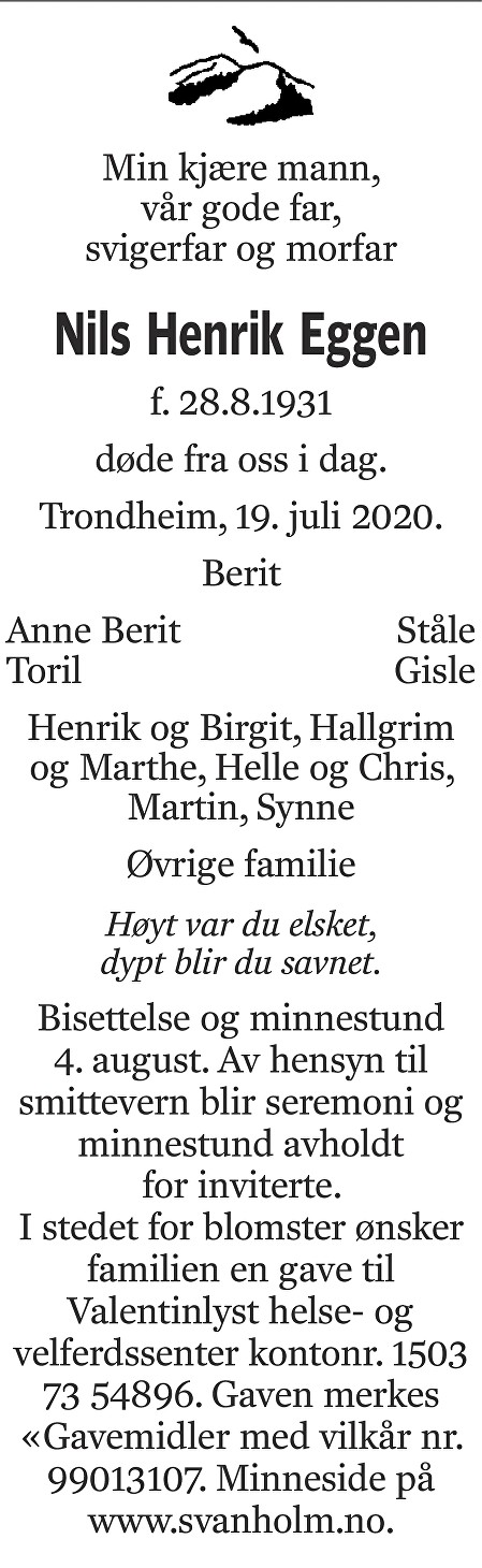 Nils Henrik Eggen Dødsannonse
