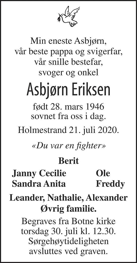 Asbjørn Eriksen Dødsannonse