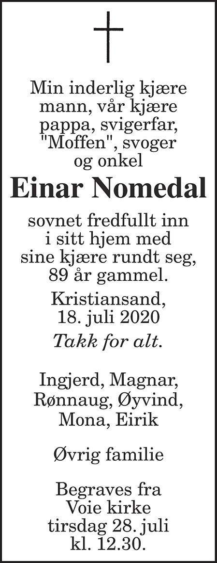 Einar Nomedal Dødsannonse