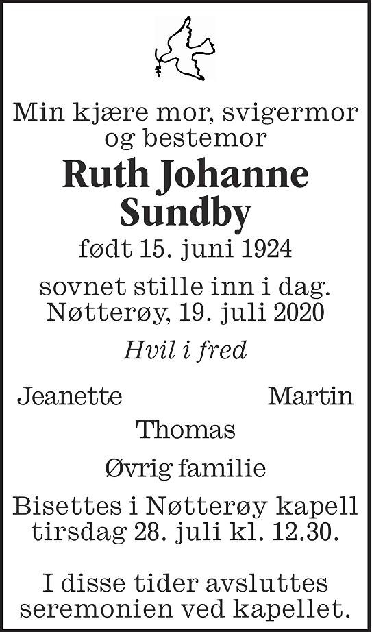 Ruth Johanne Sundby Dødsannonse