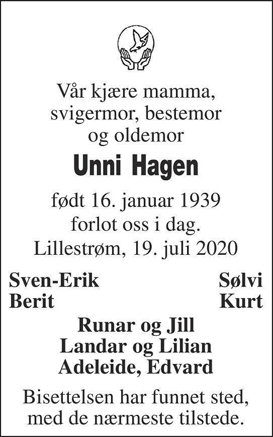 Unni  Hagen  Dødsannonse