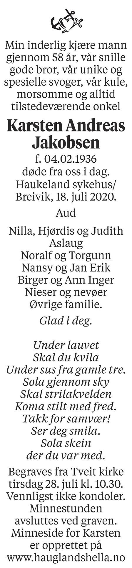 Karsten Andreas Jakobsen Dødsannonse
