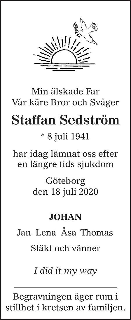 Staffan Sedström Death notice