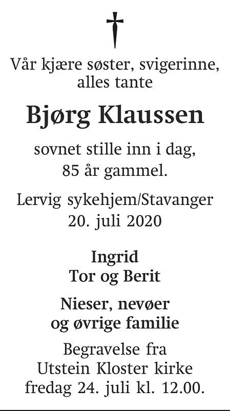 Bjørg Klaussen Dødsannonse