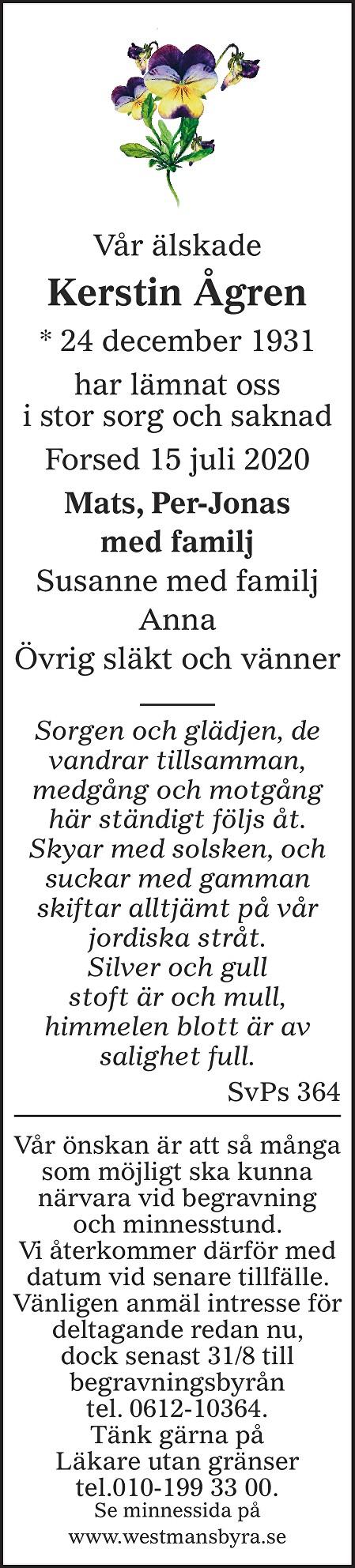 Kerstin Ågren Death notice