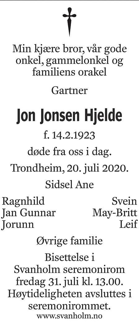 Jon Jonsen Hjelde Dødsannonse