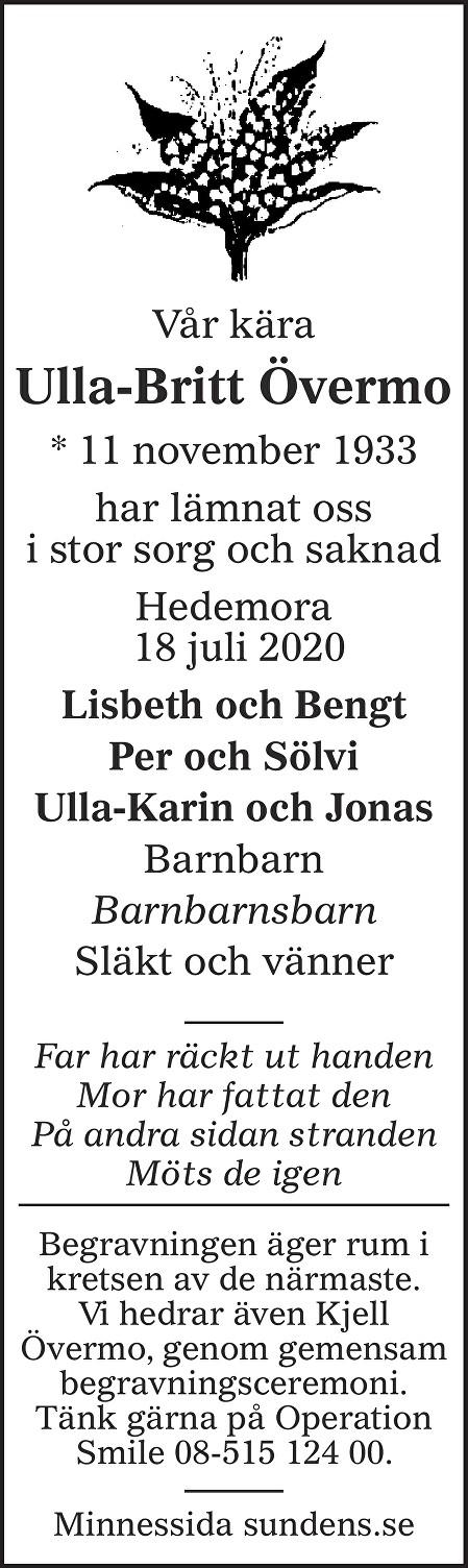 Ulla-Britt Övermo Death notice