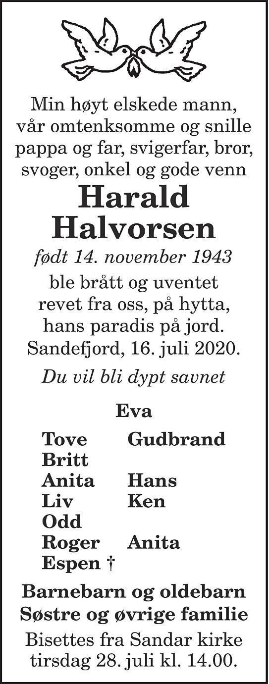 Harald Halvorsen Dødsannonse