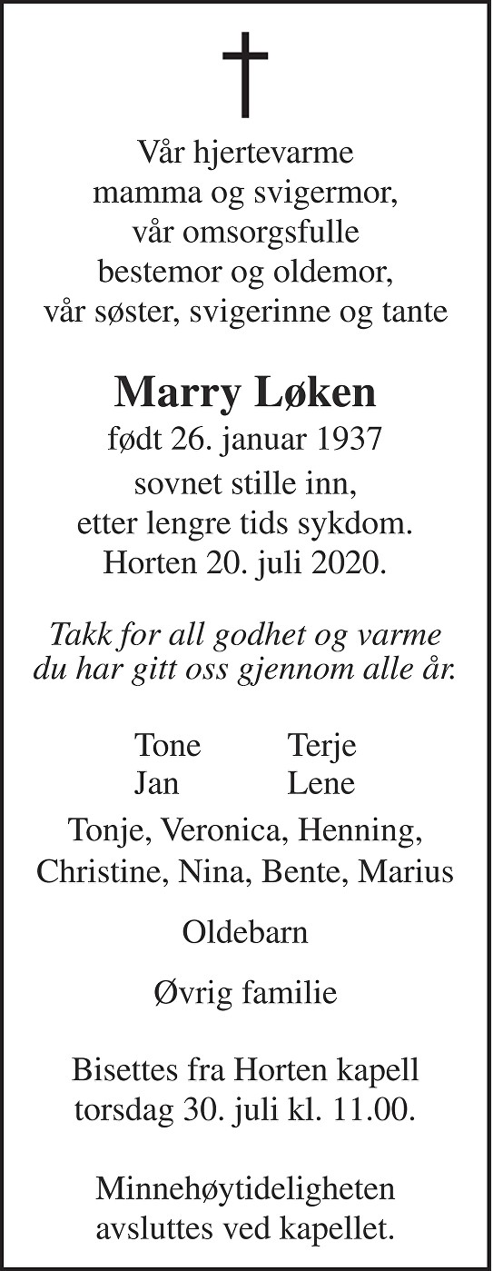 Marry Løken Dødsannonse
