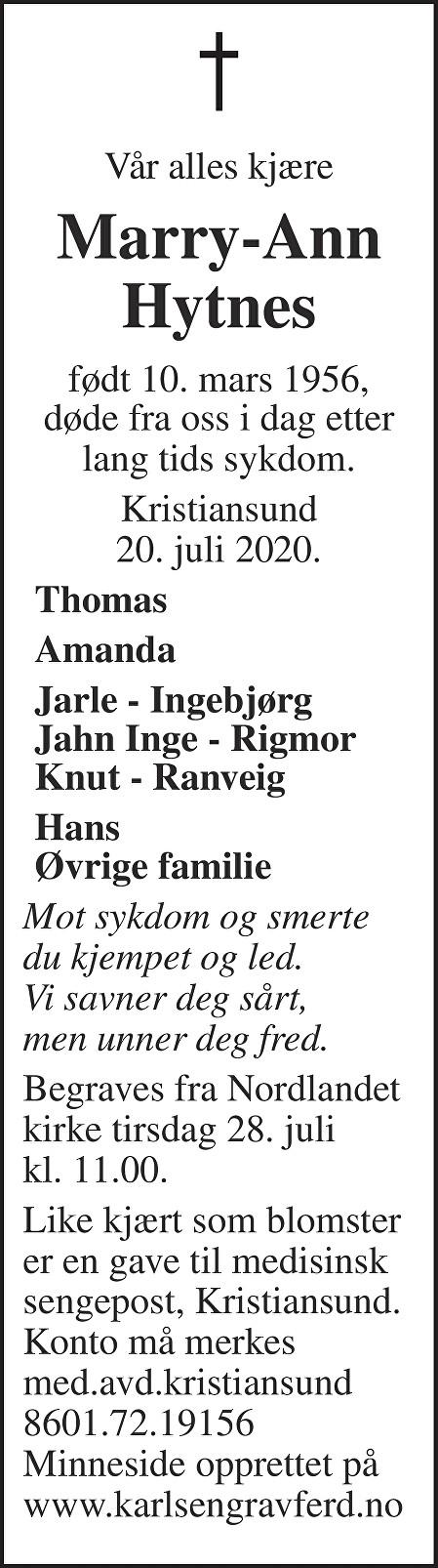 Marry-Ann  Hytnes Dødsannonse