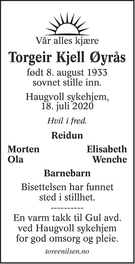 Torgeir Kjell Øyrås Dødsannonse