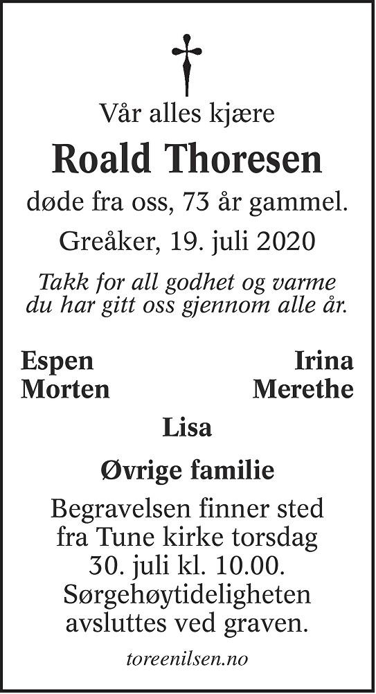 Roald Thoresen Dødsannonse