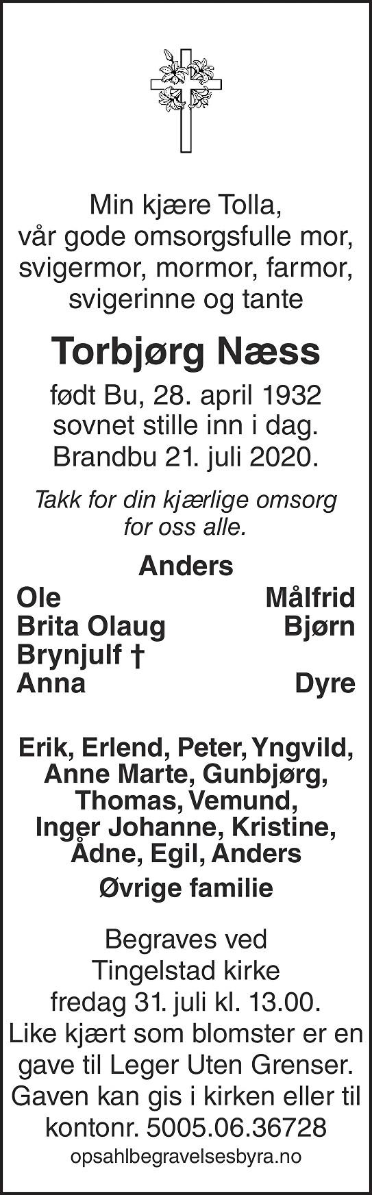 Torbjørg Næss Dødsannonse