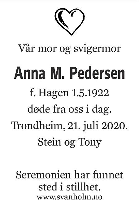 Anna Martine Pedersen Dødsannonse