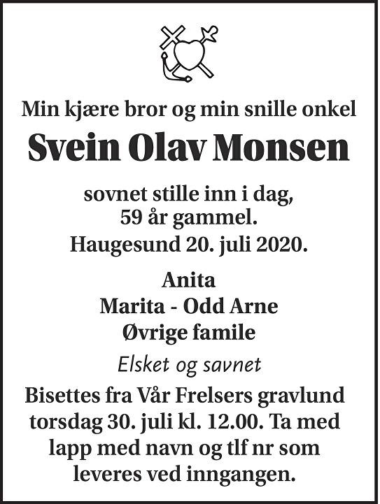 Svein Olav Monsen Dødsannonse