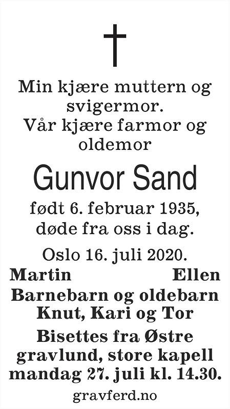 Gunvor Sand Dødsannonse