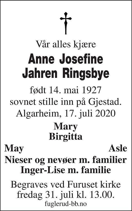 Anne Josefine Jahren Ringsbye Dødsannonse