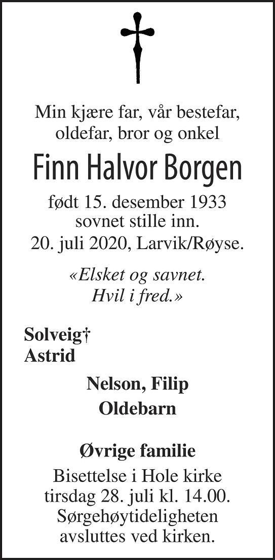 Finn Halvor Borgen Dødsannonse