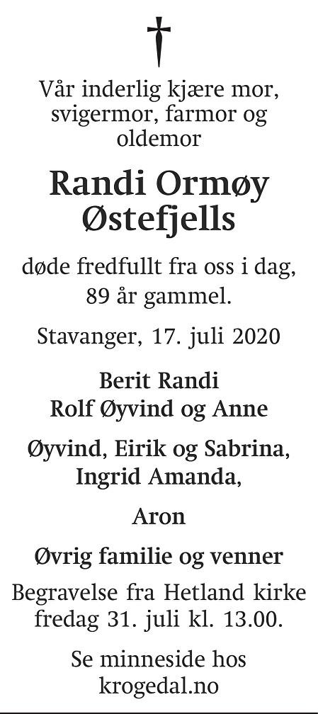 Randi Ormøy Østefjells Dødsannonse