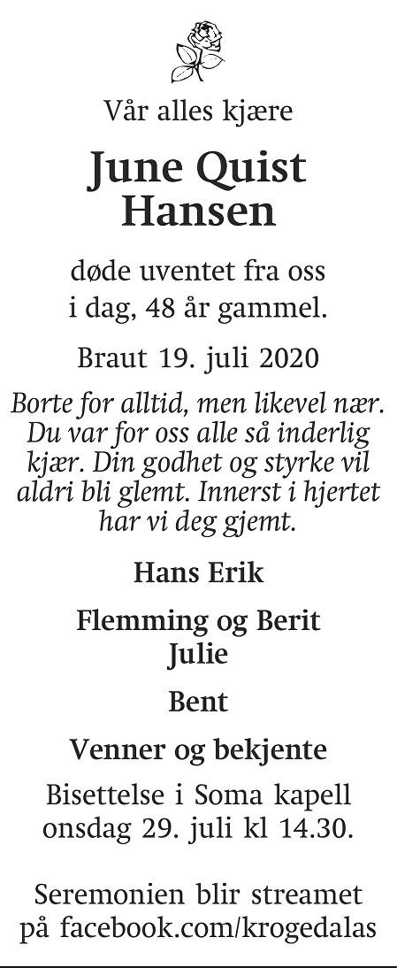 June Quist Hansen Dødsannonse