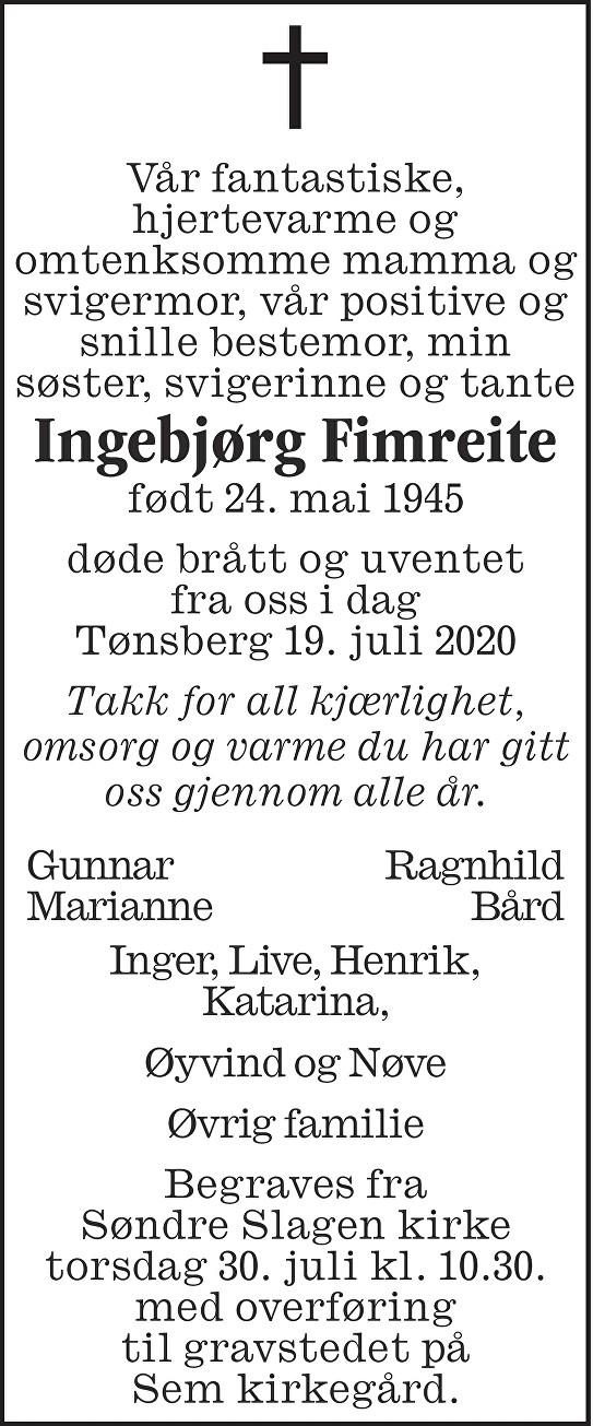 Ingebjørg Fimreite Dødsannonse