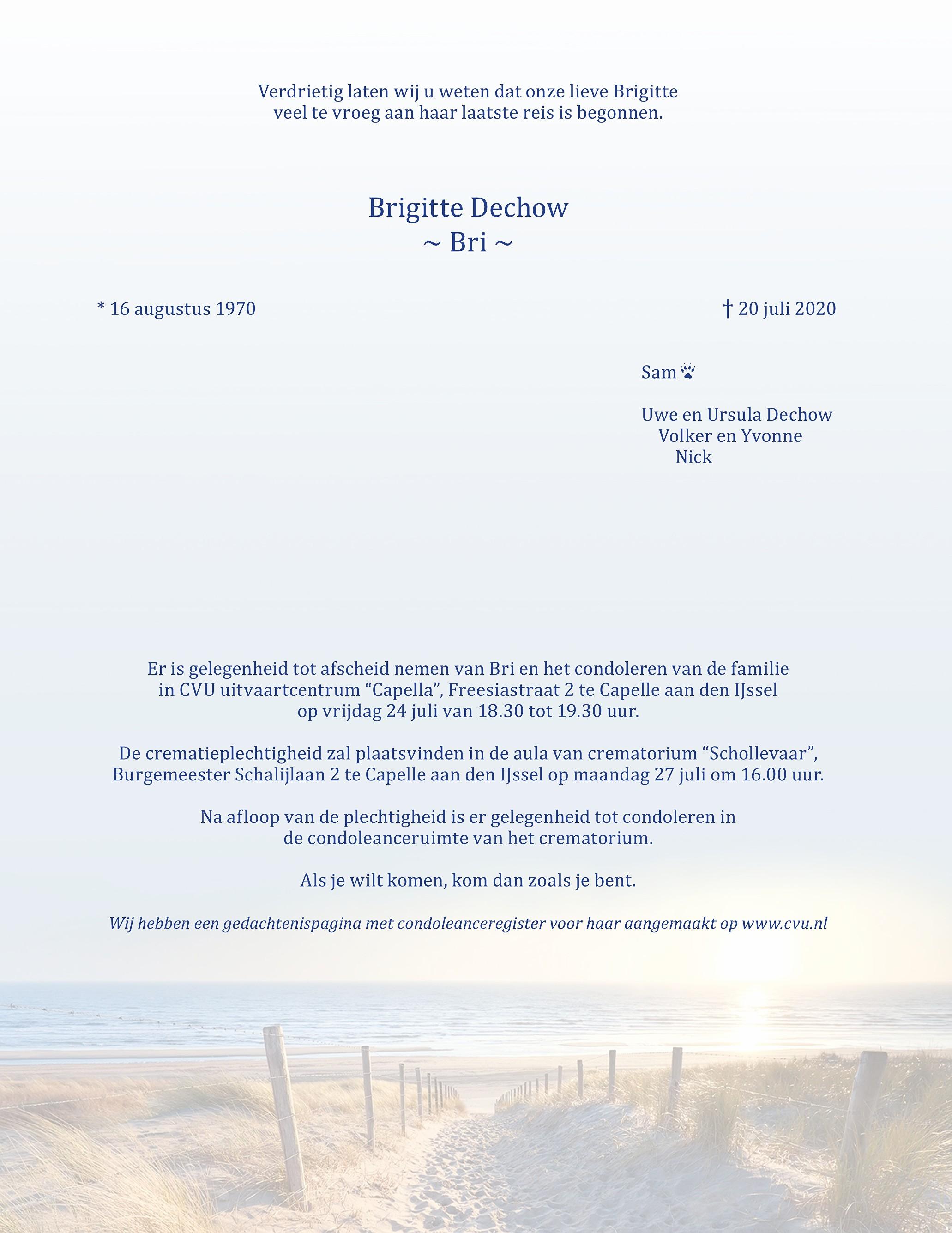 Brigitte Dechow Death notice