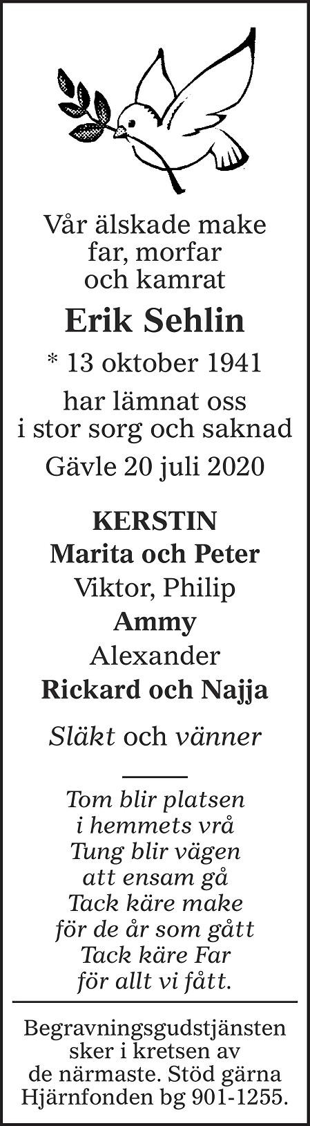 Erik Sehlin Death notice