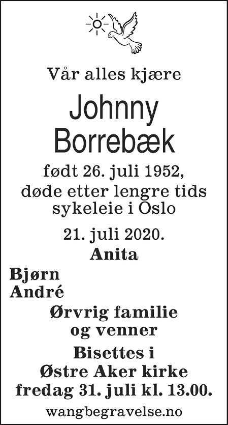Johnny Borrebæk Dødsannonse
