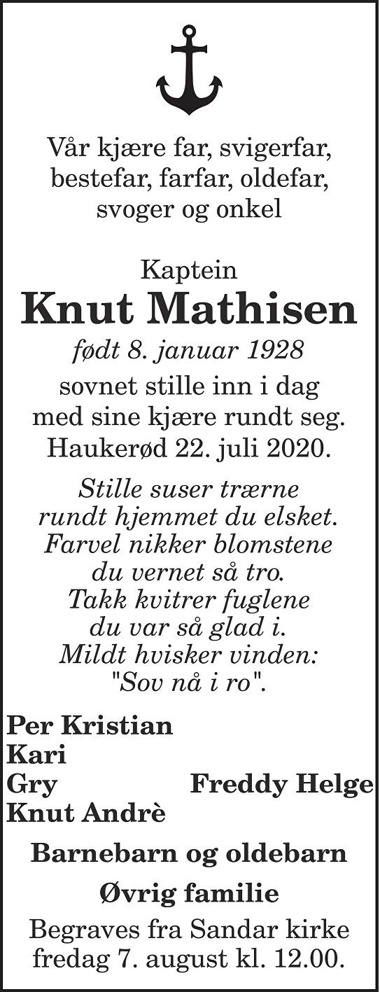 Knut Mathisen Dødsannonse
