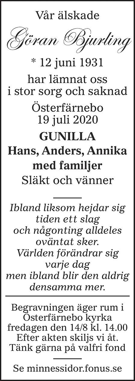 Göran Bjurling Death notice