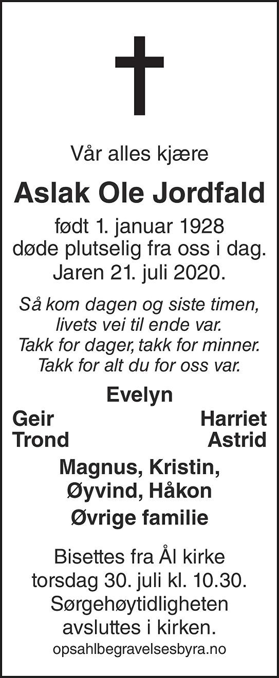 Aslak Ole Jordfald Dødsannonse
