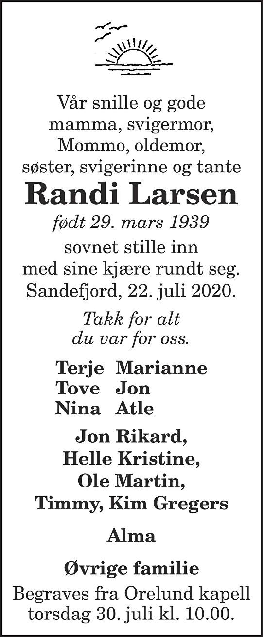 Randi Larsen Dødsannonse