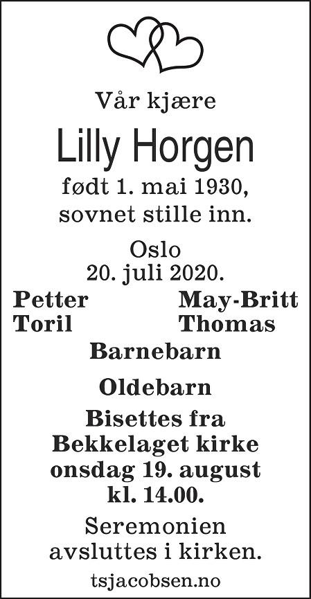 Lilly Horgen Dødsannonse