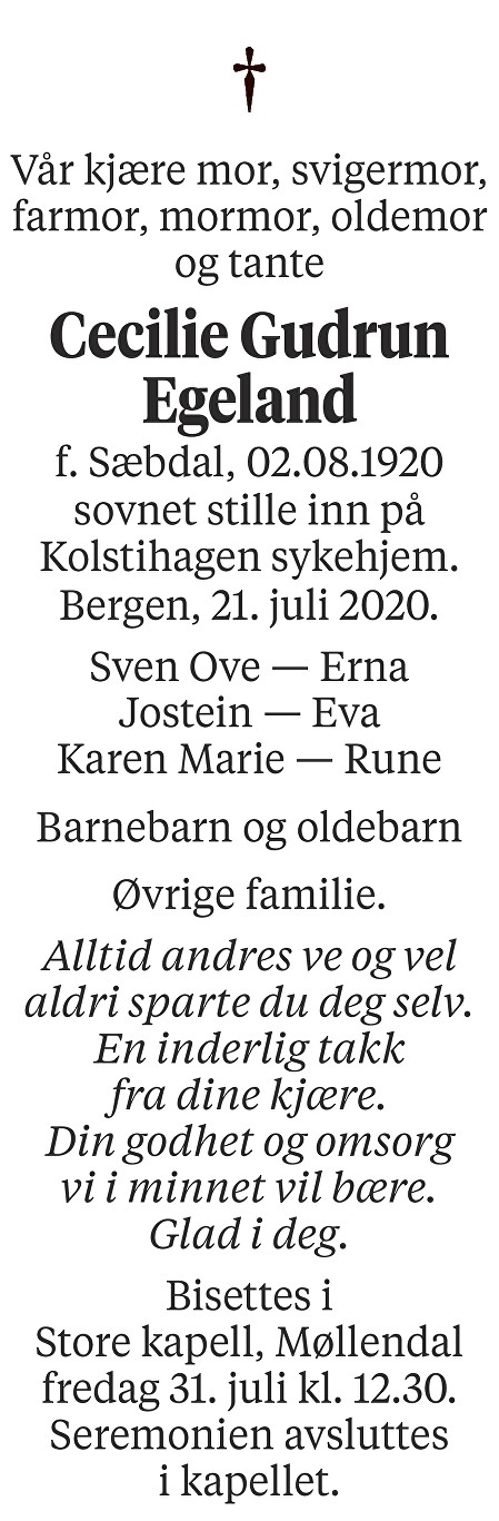 Cecilie Gudrun Egeland Dødsannonse