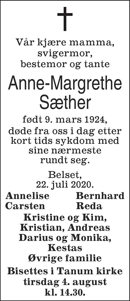 Anne Margrethe Sæther Dødsannonse
