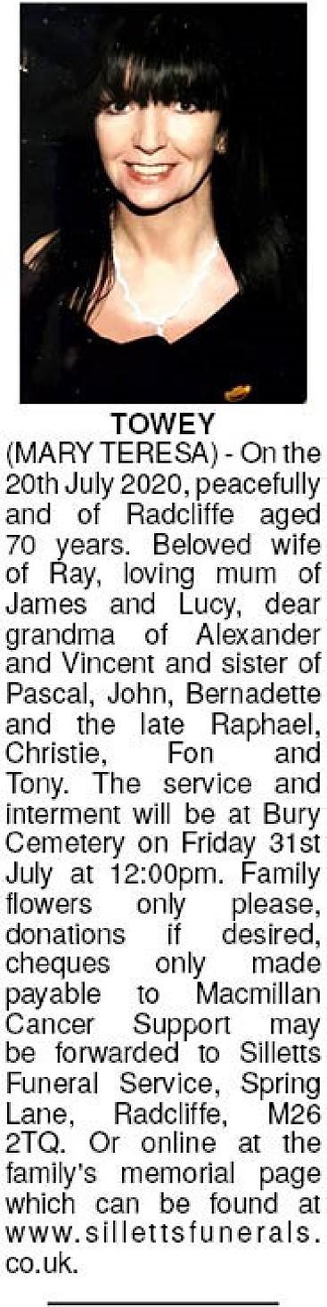 Mary Teresa Towey Death notice