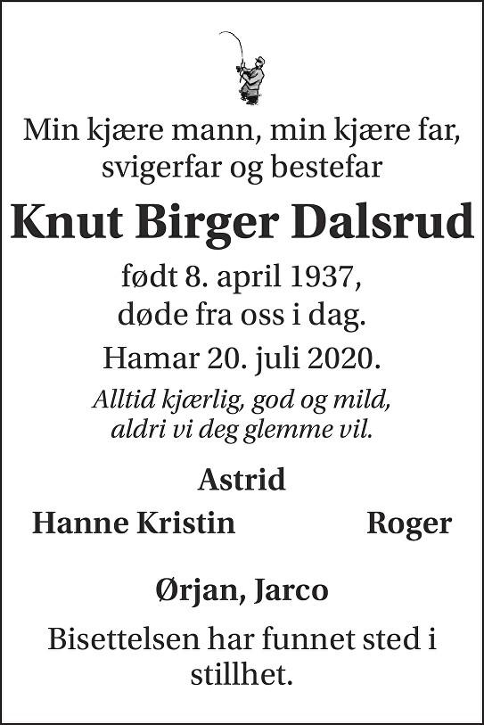 Knut Birger Dalsrud Dødsannonse