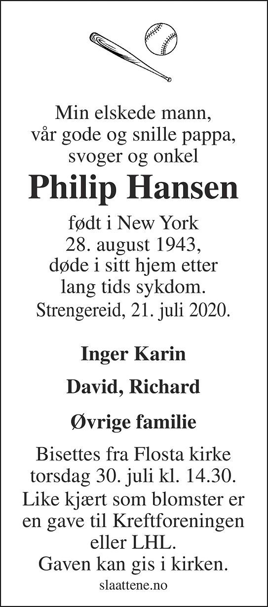 Philip Hansen Dødsannonse